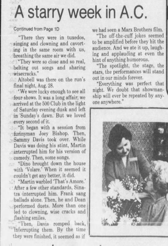 Rat Pack Atlantic City 500 Club 2 - A starry week in A.C. Continued Irom Page 1D...