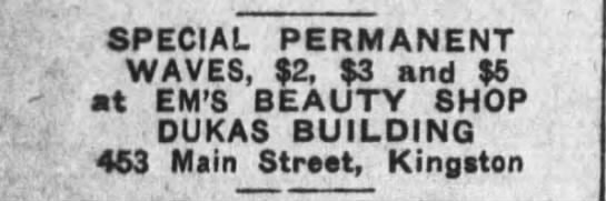 Em's Beauty Shop 1931 - SPECIAL PERMANENT WAVES, $2, $3 and $5 - at...
