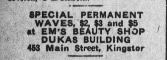 Em's Beauty Shop 1931 - SPECIAL PERMANENT . WAVES, 52, S3 and S9 It...