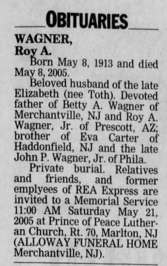 Obituary - Roy Adam Wagner