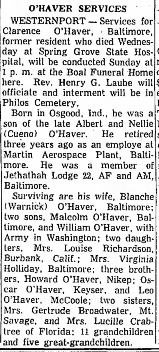 Clarence O'Haver obit - of O'HAVER SERVICES WESTERNPORT -- Services...