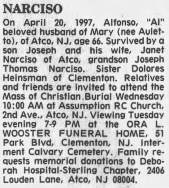 "Alfonso ""Al"" Thomas Narciso Obituary - NARCISO On April 20, 1997, Alfonso, ""Al""..."
