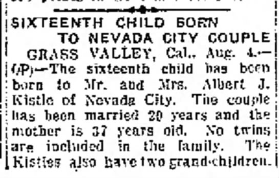 16th Child Born to Nevada City Couple - her uc- ! i n _ [chase tile building....