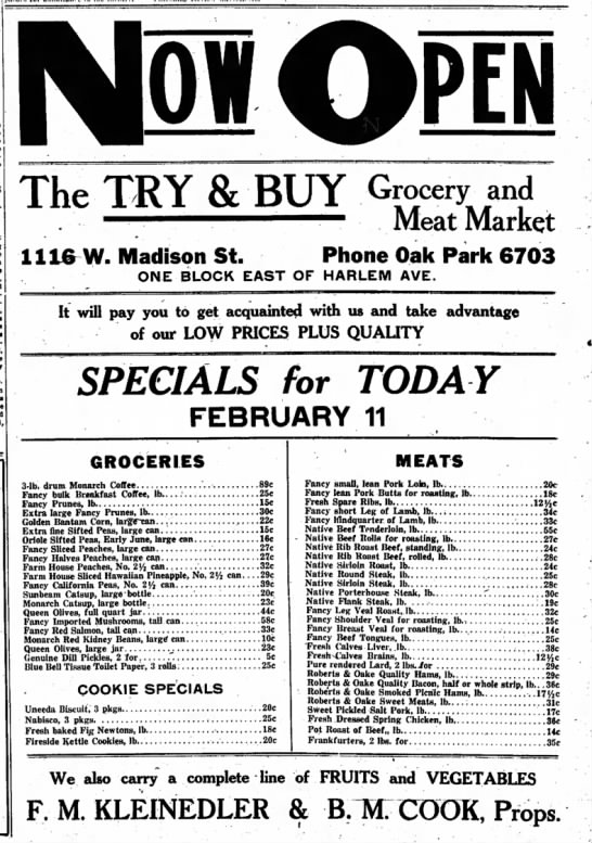 1922-02-11 Try & Buy Store Ad - The TRY & BUY Grocery-ana . •'•• ———. — — Meat...