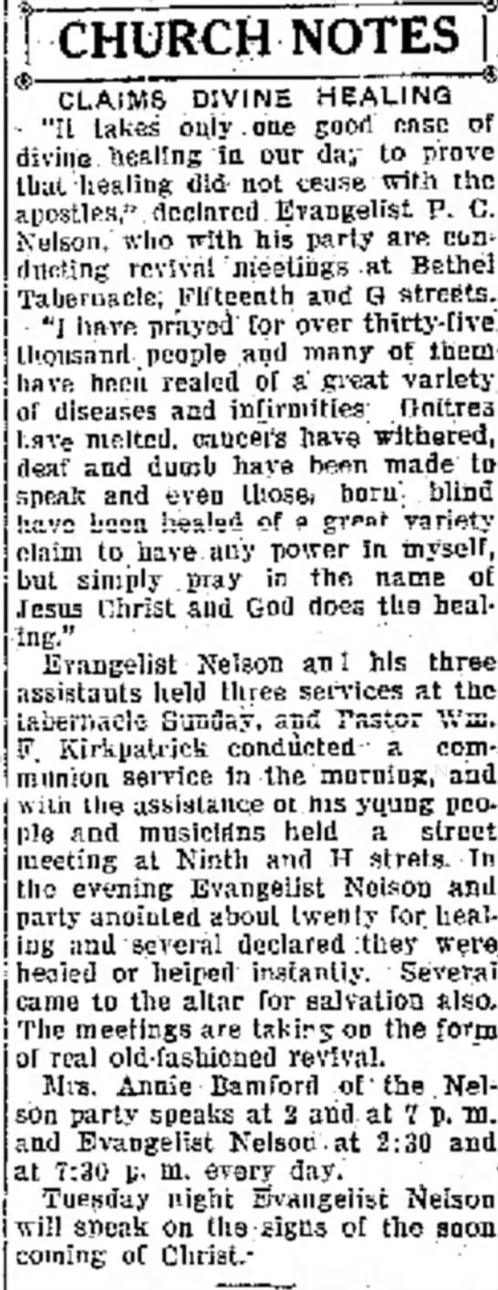 4 Oct 1926 Modesto Bee & News-Herald, Modesto, CA Nelson & Bamford - HCHURCH NOTES * CLAIMS DIVINE HEALING ''H takes...