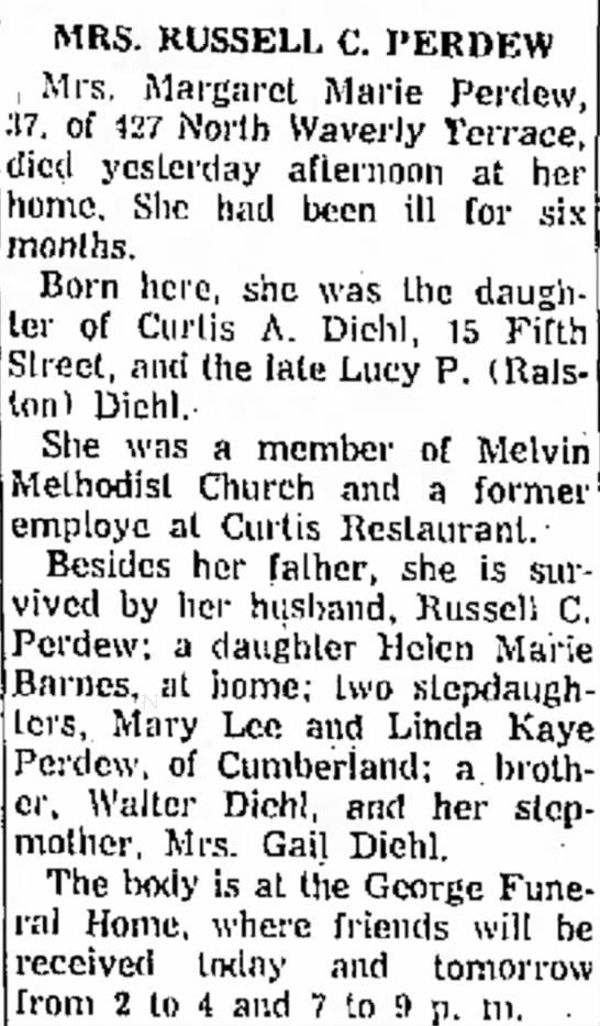 Obituary of Margaret Marie Diehl Barnes Perdew - Mann Mil Hos MRS. RUSSELL C. I'ERDEW Mrs....