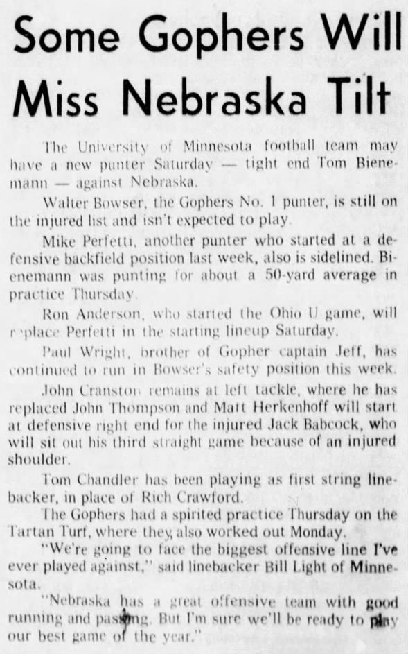 1970.10.01 Minnesota Thursday practice