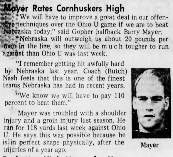 1970.10 Barry Mayer on Minnesota-Nebraska