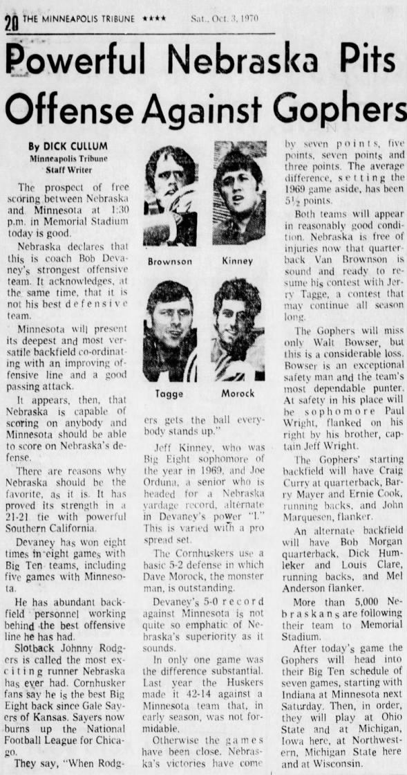 1970.10 Nebraska-Minnesota preview, Mpls. Tribune