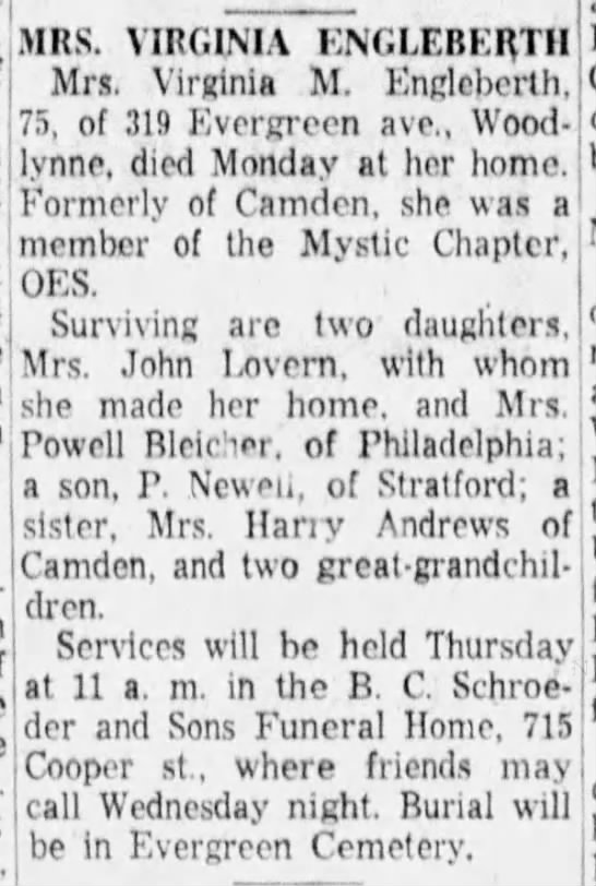 Virginia Engleberth Obit, Camden 2 Aug 1960 - aiMRS. VIRGINIA ENGLEBER.TH Mrs. Virginia M....