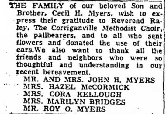 Note of Gratitude for Sympathies Extended during the loss of Cecil H. Myers - THE FAMILY of our beloved Son ant Brother,...