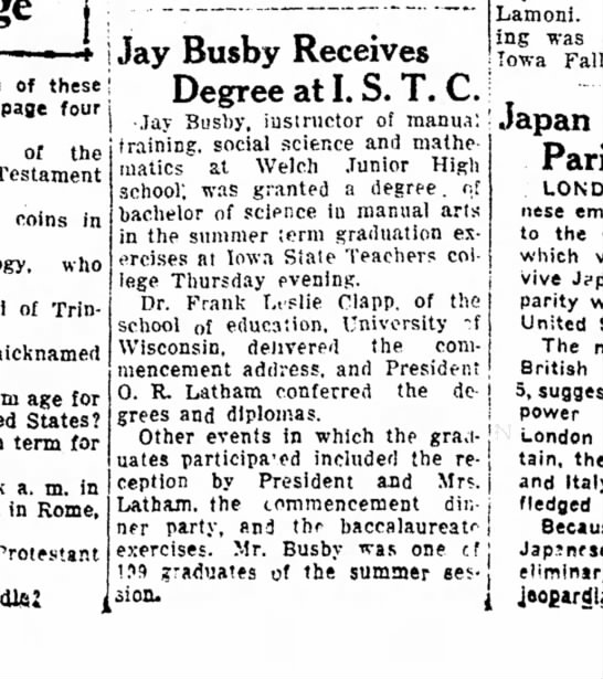 Jay Busby degree Aug 26 1935 Ames Daily Tribune