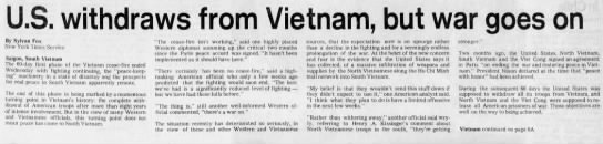 Headlines from March 29 (1973) - By Sylvan Fox New York Times Service Saigon,...