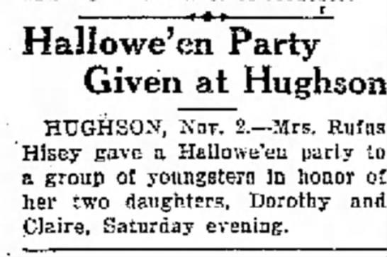 1927 Modesto Paper - Hallowe'en Party Given at Hughson HTJGHSON,...