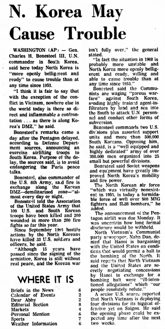 Estherville Daily News (Estherville, Iowa) 29 October 1968 Page 1 - N. Korea May Cause Trouble WASHINGTON (APt -...