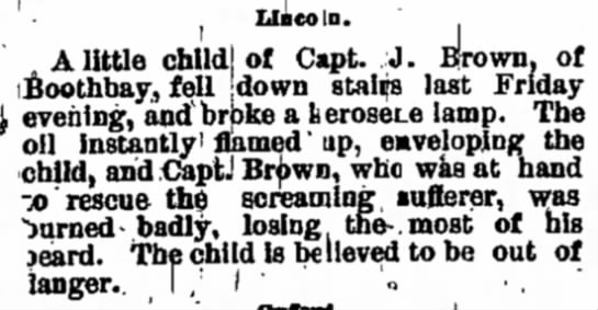 Capt. J. Brown - Boothbay - select Lincoln. A little child! of Capt. J....
