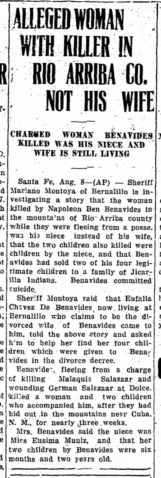 Benavides case - AlLEGEDfOMAN ilffllLERIN 1RIBA CO. NOT HIS WIFE...