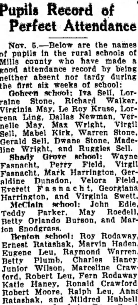 1930-11-20  Roy - Fern School Record - Pupil* Recofd of Attendance Not. 6.—Below are...