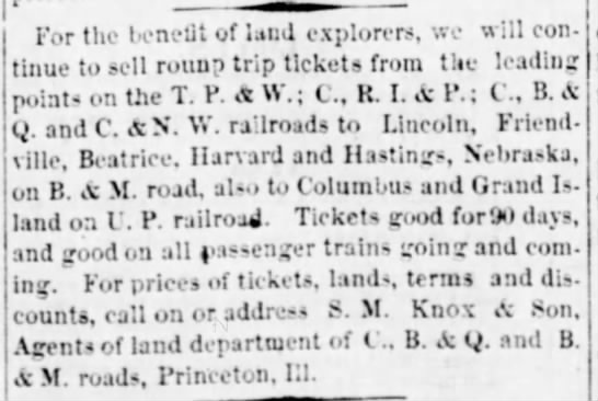Ottawa Free Trader 29 Dec 1877 Tickets to Hastings - For the l eneUt of land explorers, we w ill...