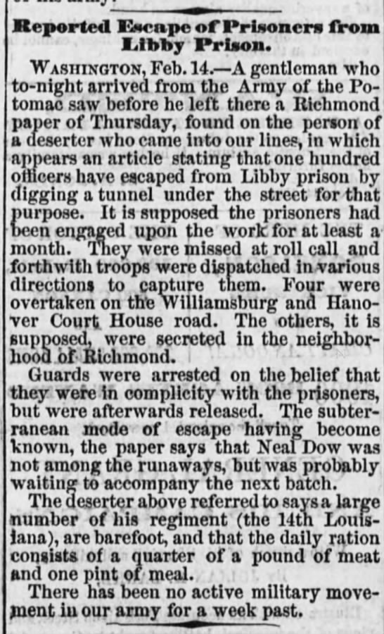 Daily Ohio Statesman 16 February 1864 Page 1 - Reported Escape of Prisoners from Libby Prison....
