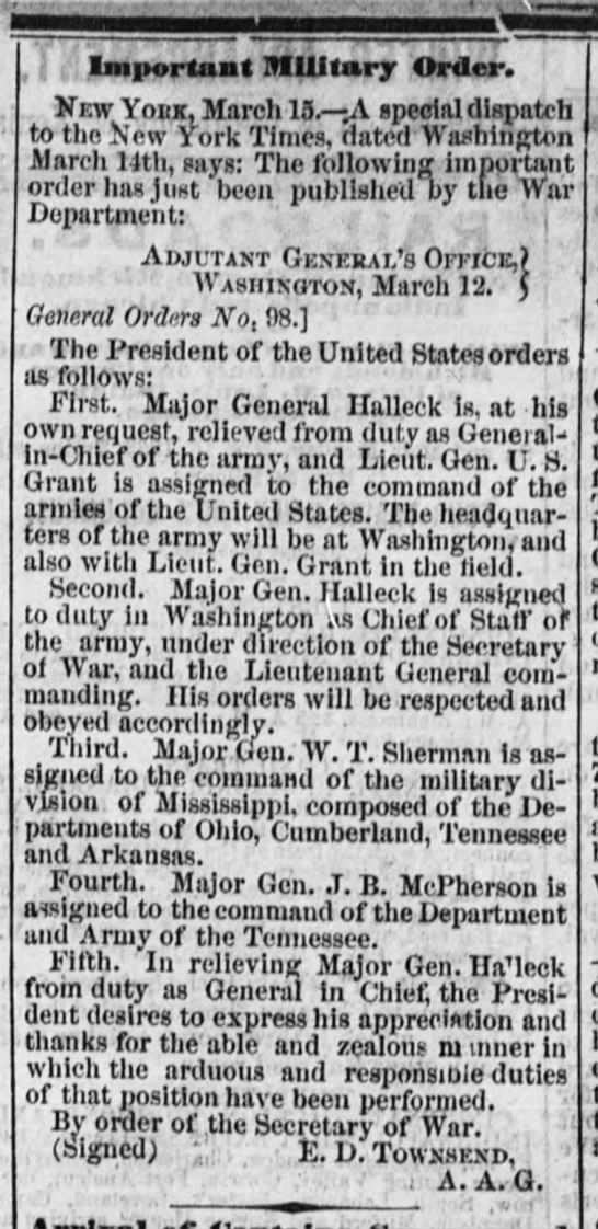 U.S. Grant organizes his senior command upon being promoted to general-in-chief - Important Military Order. Kew Yokk, March 15A...