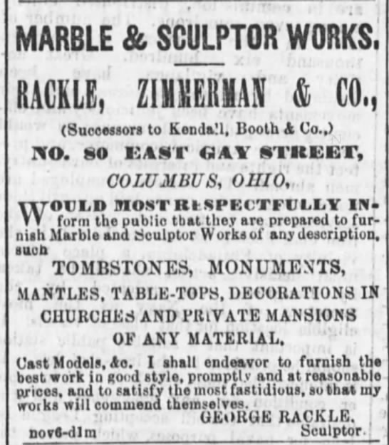 Ad for Rackle, Zimmerman, & Co. - MARBLE & SCULPTOR WORKS, RACKLE, ZIMMERMAN &...