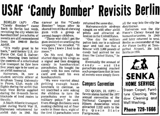 Candy Bomber Revisits Berlin - C. 17 Dec 2012 - USAF/Candy Bomber'Revisits Berlin firm, set,...