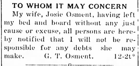 Josie Crews leaves her husband, G. T. Osment
