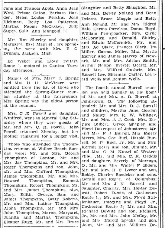 Thompkins Reunion - The Coshocton Tribune, Thursday, 30 Aug 1934, p. 7 - who Jane and Prances Appis, Anna Jean Slaughter...