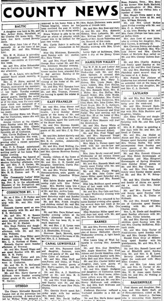 Small-town news around the county. 1939 Ohio. - COUNTY NEWS BALTIC A daughter was born to Mr....