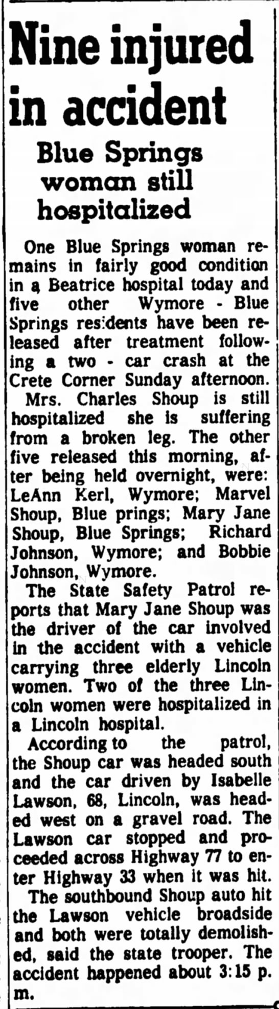 Kerl, LeAnn Accident 4 Nov 1963