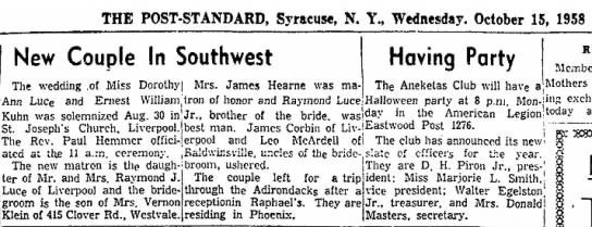 Luce-aunt dorothy wedding - THE POST-STANDARD, Syracuse, N. Y., Wednesday....