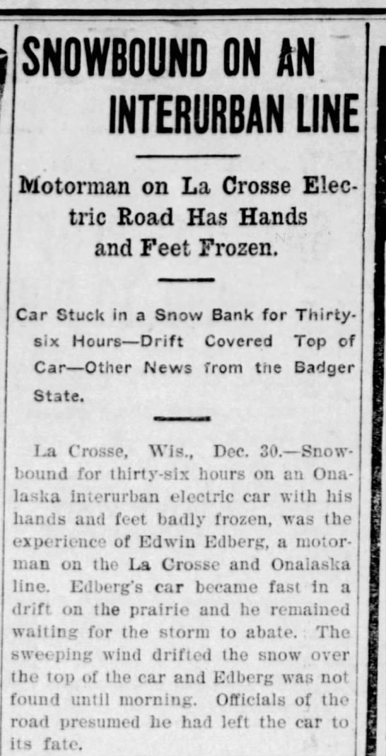 edberg frozen - SNOWBOUND ON AN INTERURBAN LINE Motorman on La...