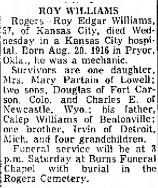 ? - ROY WILLIAMS Rogers--Roy Edgar Williams, 7, of...