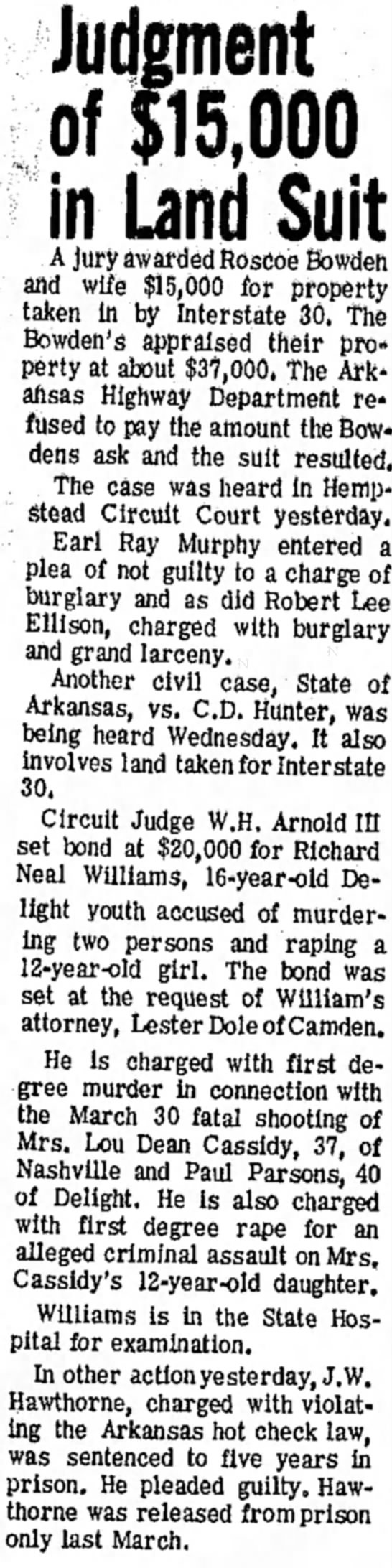 22 Apr 1970 p8, J  W  Hawthorne prison sent - Judgment of $15,000 in Land Suit A jury awarded...
