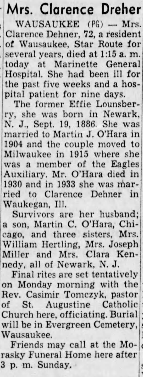 Obituary - Effie Marie Lounsberry Dehner - tho'nv. and a granddaughter, Marsha, Lyons,...