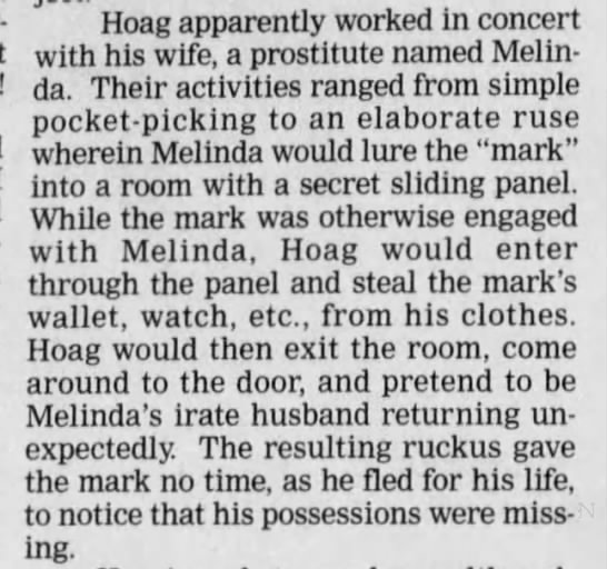 "Hoag and ""Smart Alec"" - ar- Hoag apparently worked In concert with his..."
