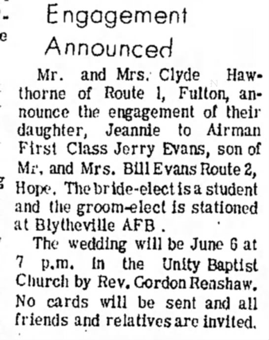 13May 1970 p2 Clyde Hawthorne's dau  Jeannie marr - Engagement Announced Mr. and Mrs. Clyde...