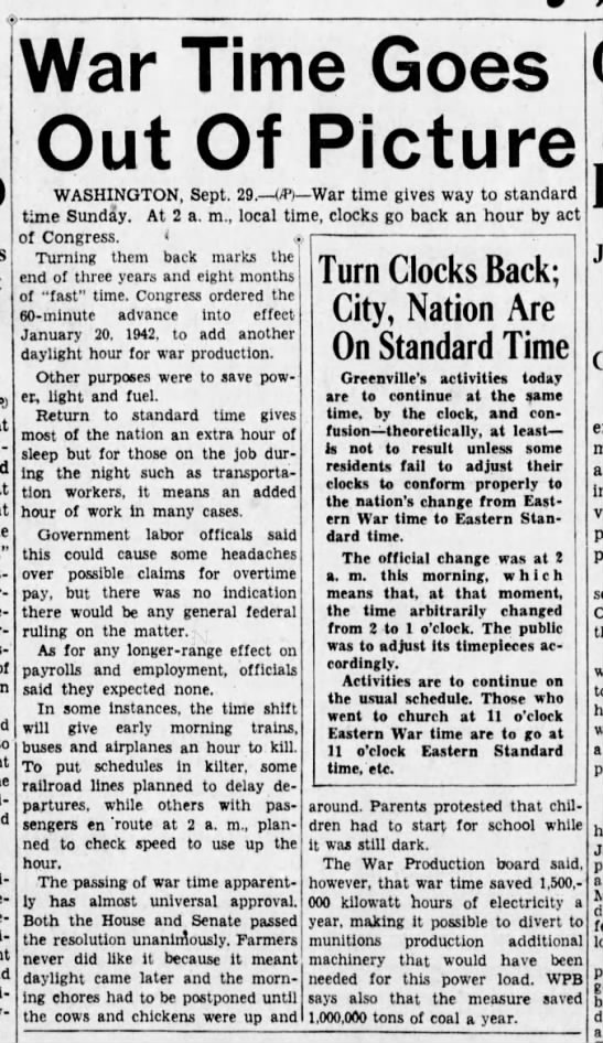 """""""War Time"""" ends, 30 Sept 1945 - War Time Goes Out Of Picture WASHINGTON, Sept...."""