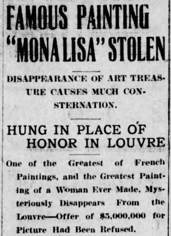 "Famous Mona Lisa Stolen - FAMOUS PAINTING ""MONA LISA"" STOLEN j..."