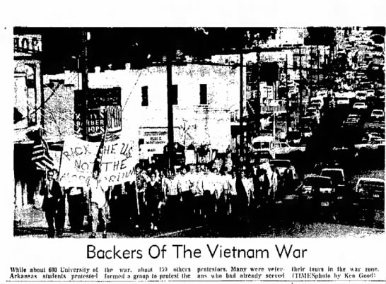 Moratorium, Fayetteville 3 - Backers Of The Vietnam War While about GOO...