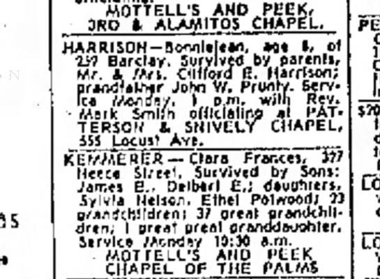 Bonnie Harrison's Funeral Service