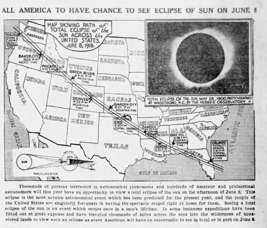 1918 solar eclipse path. - ALL AMERICA TO HAVE CHANCE TO SEE ECLIPSE OF...