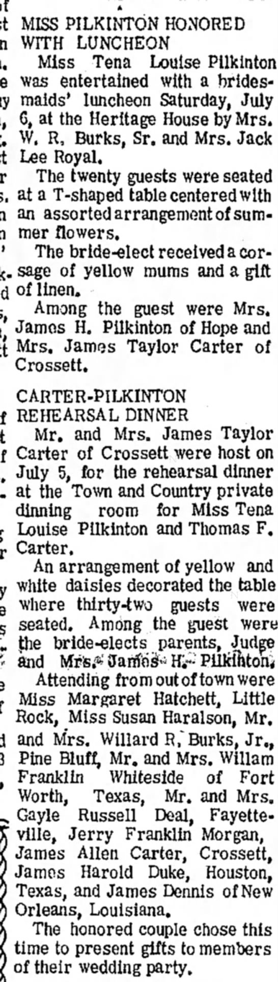 Tina Louise Pilkinton 7/11/68 wedding to Thomas F. Carter - MISS PILKINTON HONORED WITH LUNCHEON Miss Tena...