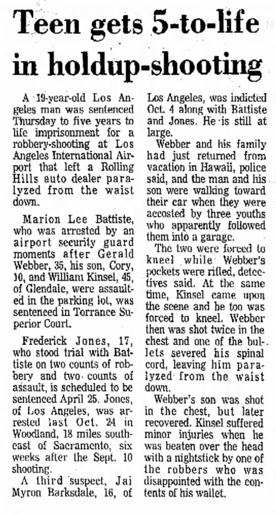 Long Beach Independent, April 12, 1974, - Tfeen gets 5-to-lif in holdup-shooting A...