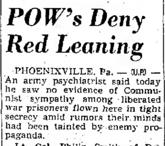 "POWs Not ""Tainted by Enemy Propoganda"" - husband's daughter. when 31, POW's Deny Red..."