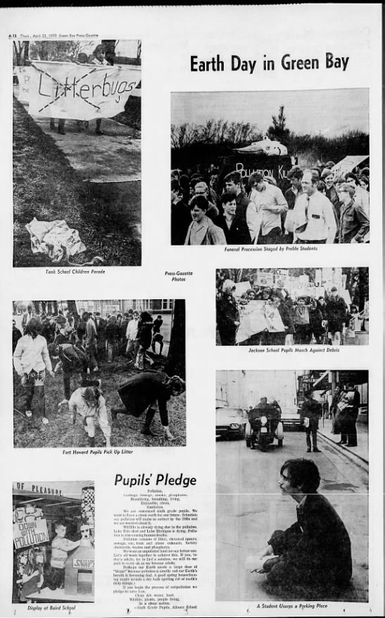 Photos from the first Earth Day, in 1970 - A-12 Thurs., April 23, 1970 Green Bay...