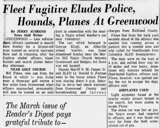 George Klugh's car was stolen 4 Mar 1963 - Fleet Fugitive Eludes Police, Hounds - By JERRY...