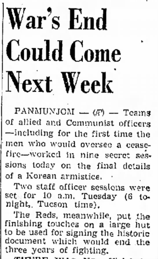 "Korean ""War's End Could Come Next Week"""
