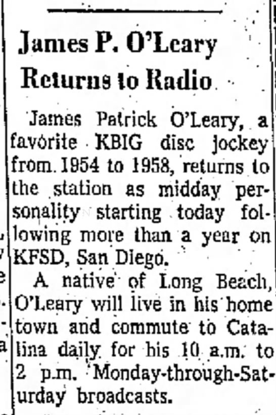 August 1 1960 - James P. O'Leary Returns to Radio 'James...